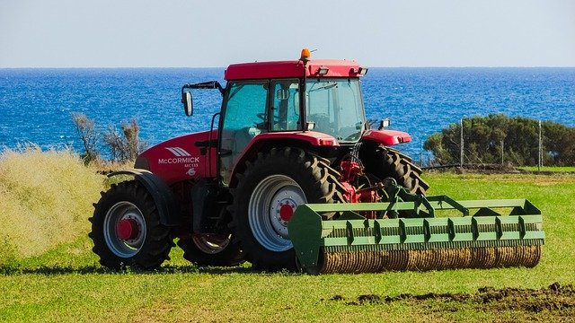 tractor with ocean background
